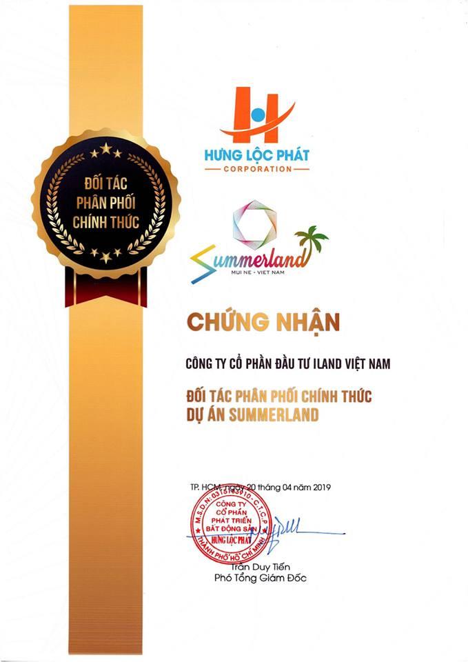 Iland Viet Nam là đơn vị F1 dự án Summerland Phan Thiết của Hưng Lộc Phát, giấy chứng nhận F1 cho Iland Việt Nam